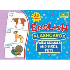 Набор карточек . Животные фермы,  птицы и  домашние питомцы.