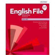 Рабочая тетрадь English File 4th Edition Elementary Workbook with key